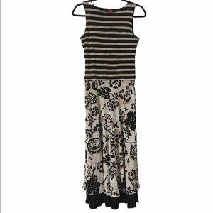 Olsen Europe Stripe & Floral Maxi Dress, size 8